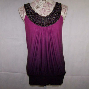 Fashion Bug Shirt Top Purple Ombre Beaded